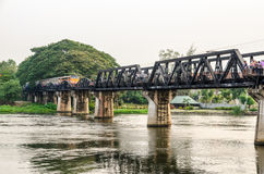 Bridge over the River Kwai. Trains for travel running on the old bridge over the River Kwai Yai is a historical attractions during World War 2, Kanchanaburi Stock Photography