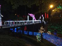 Bridge over river of lights in Ibagué, Tolima royalty free stock image