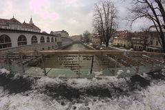 Bridge over river Ljubljanica Royalty Free Stock Photography