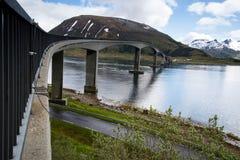 Bridge over river on Lofoten Islands Stock Photography
