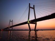 Bridge over river. A bridge near the Sangam in Allahabad, India stock image