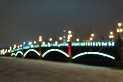 The bridge over the river at night Royalty Free Stock Photos