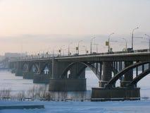 Bridge over river Ob Stock Photos