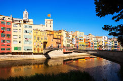 Bridge over river Onyar  in Girona, Spain Royalty Free Stock Image