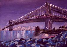 Bridge over the river and reflection of the city in the water at night acrylic Royalty Free Stock Image