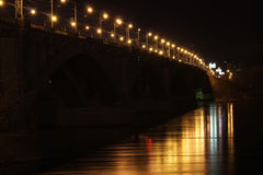 Bridge over the river. Road bridge over the river at night Stock Photography