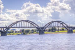 Bridge over  river Russia Rybinsk Royalty Free Stock Photography