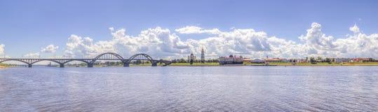 Bridge over  river Russia Rybinsk Stock Image