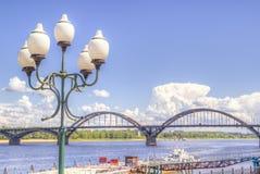 Bridge over  river Russia Rybinsk Royalty Free Stock Photos