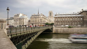 Bridge over the river seine a famous landmark in paris france europe t laps stock video footage