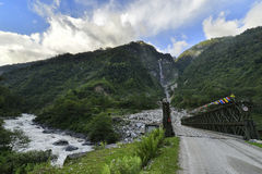 Bridge over river in Sikkim Royalty Free Stock Photography