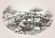 Bridge over river sketch Stock Photo