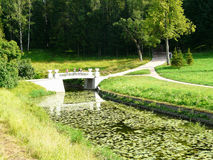 The bridge over the river Slavyanka in Pavlovsk Park Stock Image