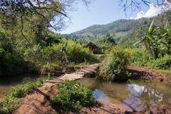 Bridge over river. Small bridge over a small river in Myanmar Stock Photography