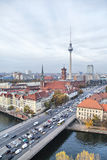Bridge over river Spree, TV-tower and Rotes Rathaus in Berlin Royalty Free Stock Photography
