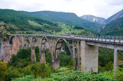 Bridge over the River Tara Canyon. Montenegro. Royalty Free Stock Photography