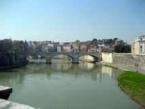 Bridge over the River Tiber. A bright day welcomed a day in Rome Royalty Free Stock Photography