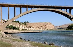 Bridge over river Tigris in Hasankeyf. An ancient town and district located along the Tigris River in the Batman Province in southeastern Turkey.Thousands of Stock Photo