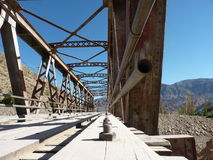 Bridge over the river. In Tilcara, Jujuy province Argentina stock photo