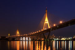Bridge over river at twillight bangkok Royalty Free Stock Photography