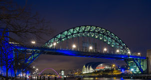 Bridge over the River Tyne at night Stock Images