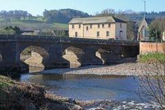 Bridge over River Usk. Stonr bridge over the River usk, Brecon Stock Photo