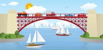Bridge over the river. Vector illustration of bridge over the river (cars & ships Stock Photography