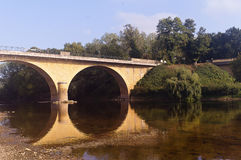 Bridge over river Vezere Limeuil Stock Images