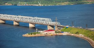 Bridge over the river Volga Royalty Free Stock Photography