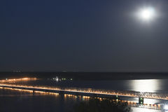 Bridge over the river Volga at night Stock Photography