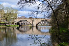 Bridge over River Wear. View of one bridge over the River Wear near Durham Cathedral, UK. Photo taken April 2015 Stock Photos