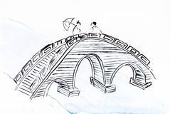 Bridge over river on white paper. Training drawing in suibokuga style with watercolor paints - bridge over river on white paper royalty free illustration