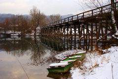 Bridge over river in winter Royalty Free Stock Image