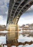 Bridge over the river winter landscape Stock Photo