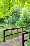 Bridge over the river. Wooden bridge over the river in the forest Royalty Free Stock Photography