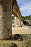 Bridge over the river yeguas near the central hydroelectric reservoir of Encinarejo. Near Andujar, Sierra Morena, province of Jaen, Andalusia, Spain Stock Images