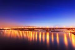 Bridge Over River. The Bridge Over the Yenisei River, Krasnoyarsk, Russia, Time Lapse Royalty Free Stock Photos
