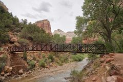 Bridge over river in zion canyon national park royalty free stock photos