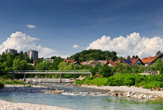 Bridge over rocky river. Small Slovenian town Skofja Loka Stock Photography