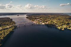 Bridge over Saimaa at Puumala Finland seen from the sky. On a sunny day royalty free stock photo