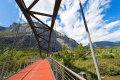 Bridge over Sarca River - Trentino Italy stock photography