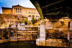 Bridge over the Schuylkill River and the Art Museum in Philadelp Royalty Free Stock Photography