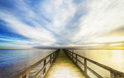 Bridge over the sea. Old sea bridge, hdr image, horicontal Royalty Free Stock Photography