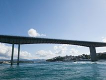 the bridge over the sea and the blue sky royalty free stock image