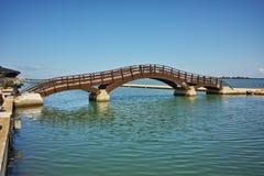 Bridge over the sea in the Lefkada town Stock Image
