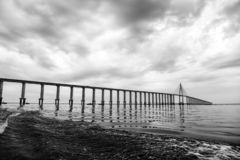 Bridge over sea in manaus, brazil. Road passage over water on cloudy sky. architecture and design. Travel destination stock photos