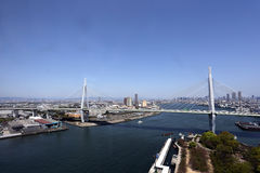 Bridge over the sea in Osaka stock image