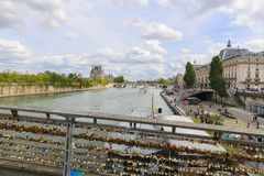 Bridge over the Seine river in Paris, France Royalty Free Stock Photo