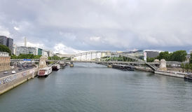 Bridge over the Seine river in Paris, France. Royalty Free Stock Photo