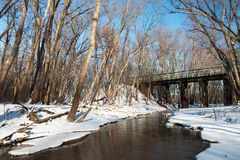 Bridge over shallow brook. Afton state park, Minnesota, USA Royalty Free Stock Photography
